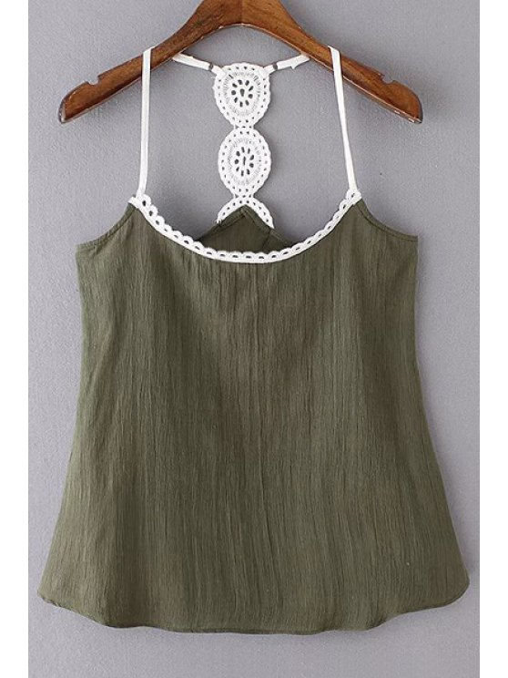 Lace Detail Cami Tank Top - BLACKISH GREEN M Mobile
