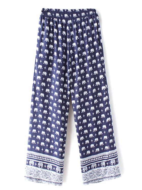 Elephant Imprimer taille haute jambe large Pant - Bleu Violet S