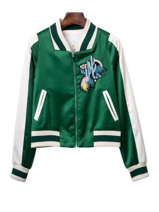 ladies Embroidered Green Baseball Jacket - GREEN M