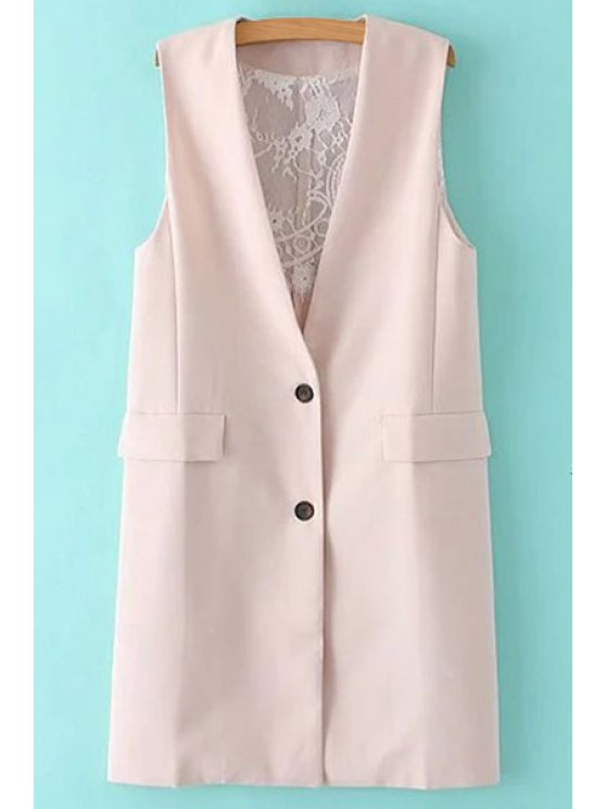 Solide Couleur Dentelle Spliced ​​Collarless Waistcoat - Rose Clair S