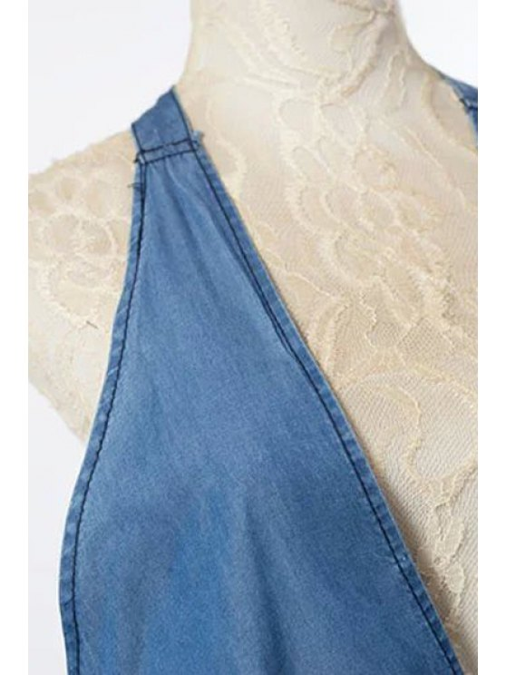 Fitted Solid Color Halter Denim Tank Top - BLUE S Mobile