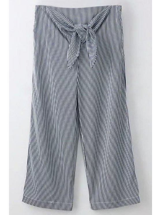 women's Striped Tie Front Wide Leg Pants - BLUE AND WHITE S