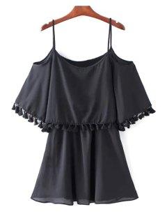 Tassel Cold Shoulder Popover Overlay Slip Dress - Black L