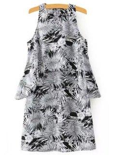 Bamboo Print Jewel Neck Sleeveless Dress - Black L