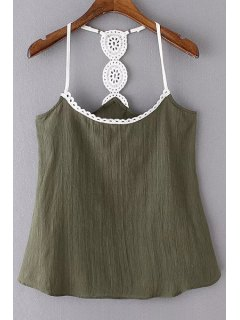 Lace Detail Cami Tank Top - Blackish Green L