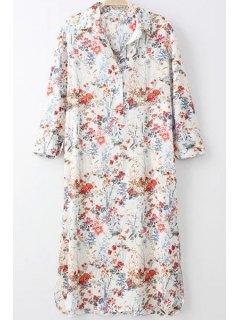 Tiny Floral Print Turn-Down Collar Long Sleeve Shirt - Off-white Xl