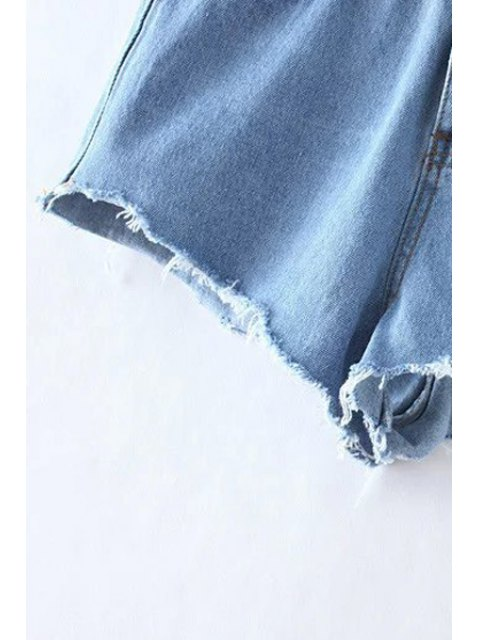 sale Bleach Wash Cutoffs Denim Shorts - LIGHT BLUE M Mobile