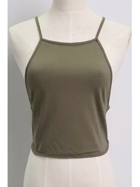 women Solid Color Backless Spaghetti Straps Tank Top - ARMY GREEN ONE SIZE(FIT SIZE XS TO M) Mobile