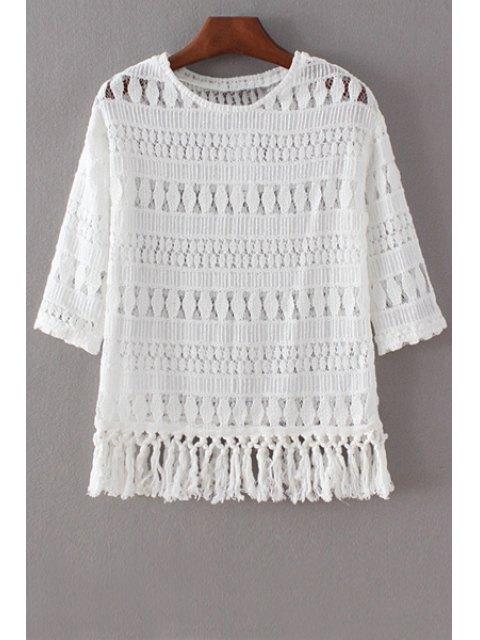 T-shirt ajouré en dentelle à manches 3/4 à col V - Blanc S Mobile