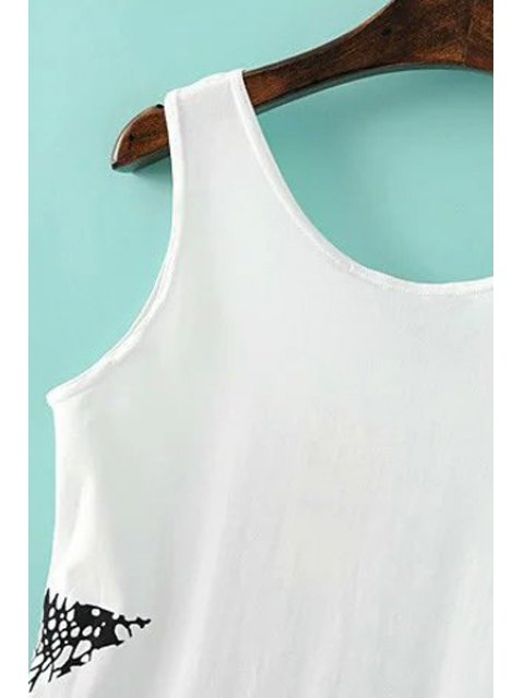 shops Pentagram Print Scoop Neck Tank Top - WHITE S Mobile