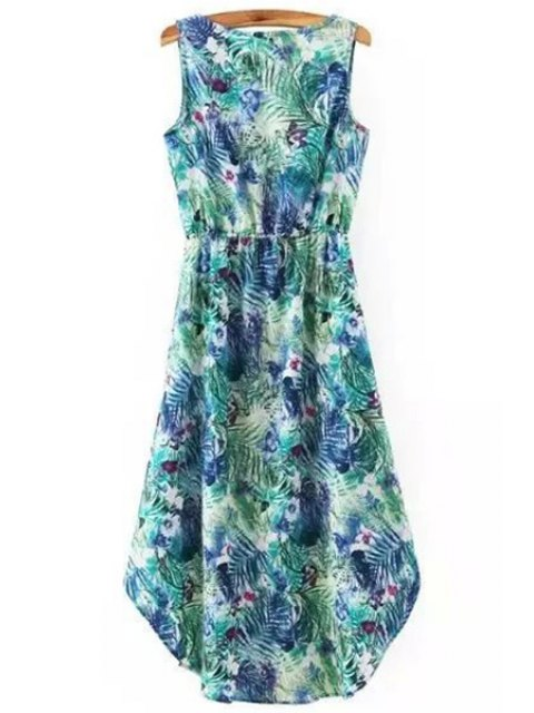 lady Hawaiian Leaf Print High-Low V Neck Sleeveless Dress - GREEN S Mobile