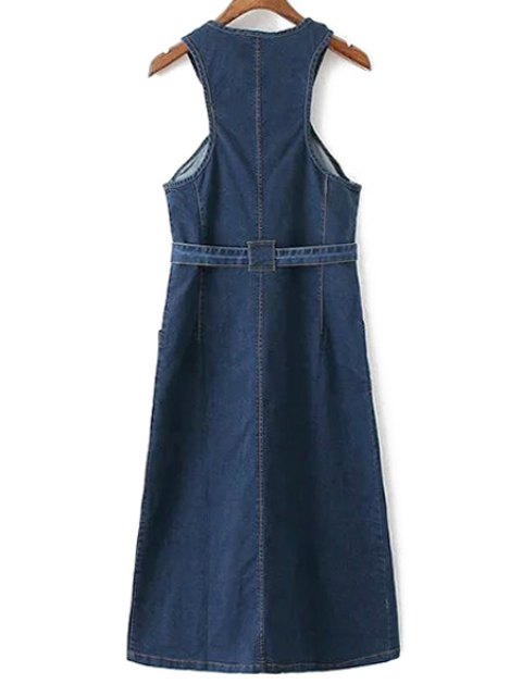 outfit Pockets Zippered Round Neck Sleeveless Denim Dress - DEEP BLUE M Mobile