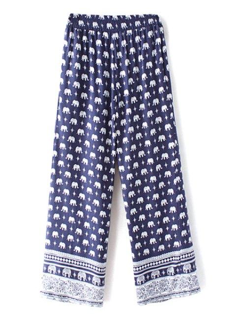 Elephant Imprimer taille haute jambe large Pant - Bleu Violet S Mobile