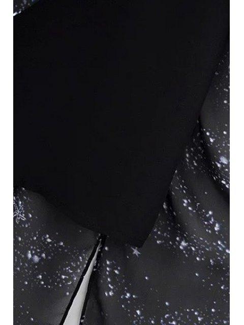 latest High Slit Spaghetti Straps Star Print Dress - BLACK S Mobile