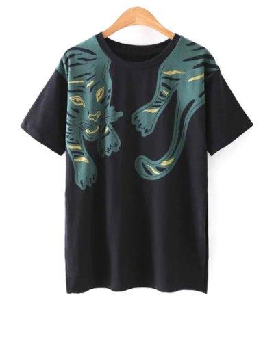 Side Vent Tiger Print Black T-Shirt - Black