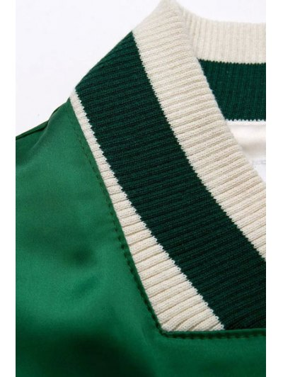 Embroidered Green Baseball Jacket - GREEN S Mobile