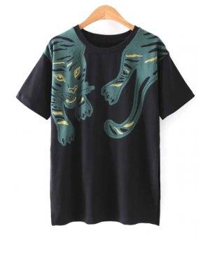 Side Vent Impresión Del Tigre Negro Camiseta - Negro