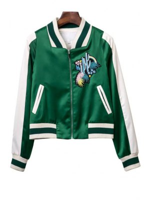 Embroidered Green Baseball Jacket - Green