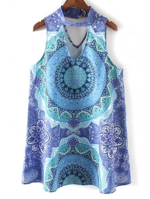 Retro Printed Stand Neck Sleeveless Dress - Blue