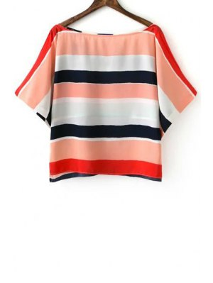 Striped Slash Neck Half Sleeve Blouse