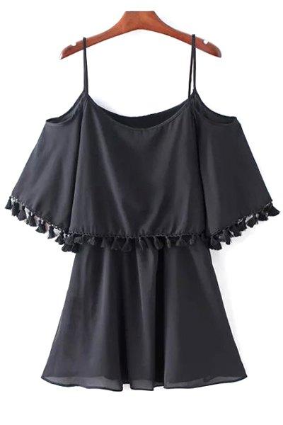 Black Fringe Cami Half Sleeve Cold Shoulder Dress 176607003