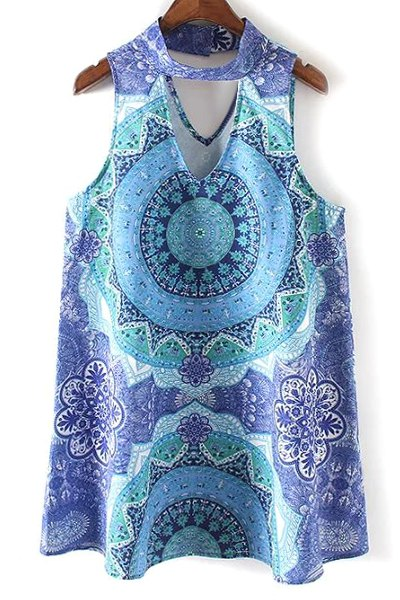 Stand Neck Sleeveless Retro Printed Dress