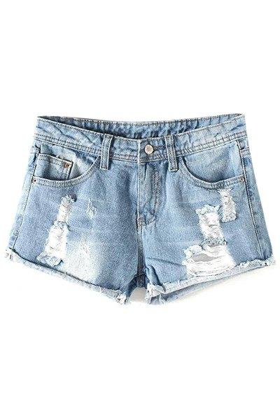 Mid-Waist Broken Hole Hemming Denim Shorts