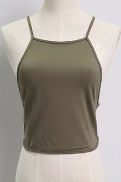 Buy Solid Color Backless Spaghetti Straps Tank Top ARMY GREEN ONE SIZE(FIT SIZE XS TO M)