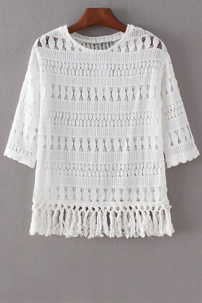 Round Collar 3/4 Sleeve Hollow Out Lace T-Shirt