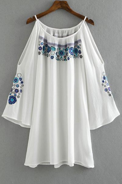 Embroidery Round Collar Cold Shoulder DressClothes<br><br><br>Size: M<br>Color: WHITE