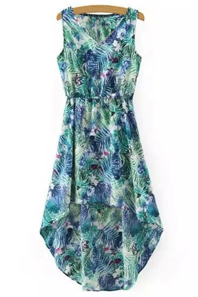 V Neck Sleeveless Leaf Print High-Low Dress