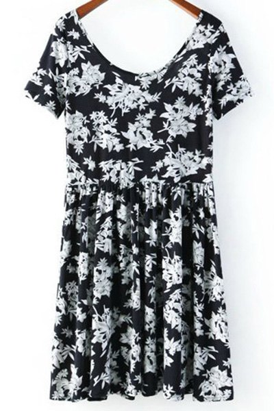 Scoop Neck Short Sleeve Flower Print Dress