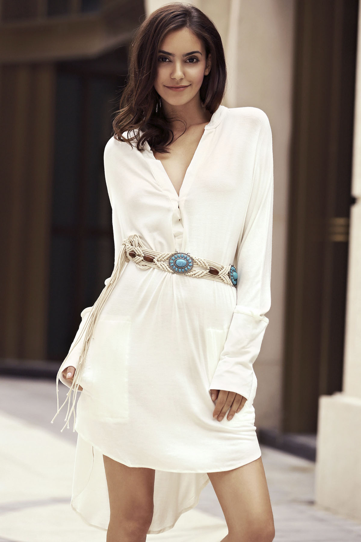 Plunging Neck Long Sleeve Solid Color High-Low Dress