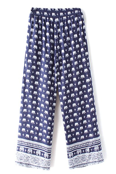 High Waist Elephant Print Wide Leg Pant