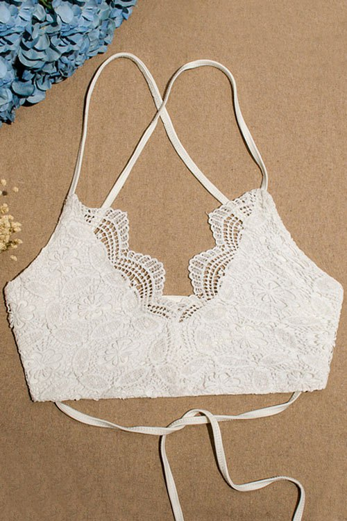 Spaghetti Straps Lace Lace-Up Tube Top