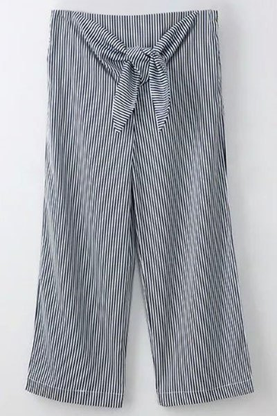 Striped Tie Front Wide Leg PantsClothes<br><br><br>Size: S<br>Color: BLUE AND WHITE