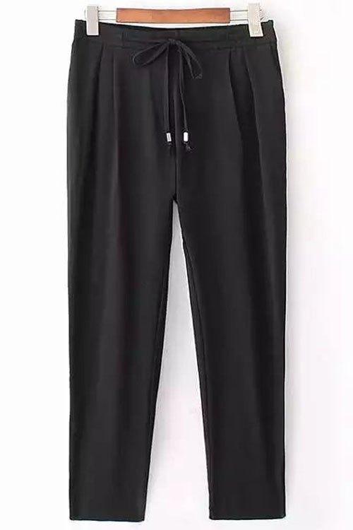 Black Drawstring Ninth Pants