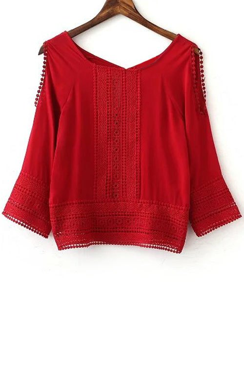 Lace Patchwork Cutout Red Top