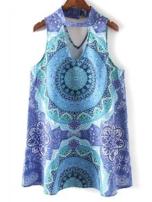 Retro Printed Stand Neck Sleeveless Dress