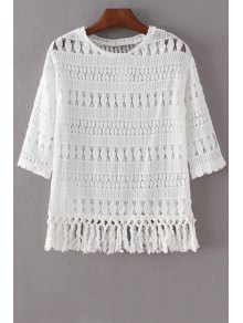 Hollow Out Round Collar 3/4 Sleeve Lace T-Shirt