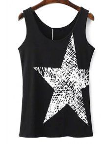 Pentagram Print Scoop Neck Tank Top
