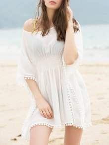 Buy Fashionable Scoop Neck Dolman Sleeve Cover-Up Dress Women - WHITE ONE SIZE(FIT SIZE XS TO M)