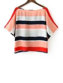 Striped Slash Neck Half Sleeve Blouse