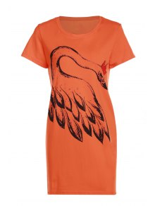 Feather Print Round Neck Short Sleeves T-Shirt
