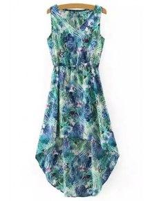 Hawaiian Leaf Print High-Low V Neck Sleeveless Dress - Green