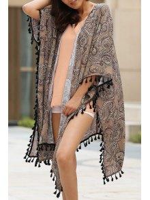 Ethnic Print 3/4 Sleeve Kimono Blouse - Brown M