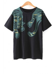 Side Vent Tiger Print Black T-Shirt