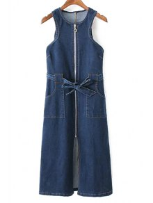 Pockets Zippered Round Neck Sleeveless Denim Dress - Deep Blue M