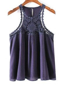 Solid Color Lace Splicing Round Neck Tank Top - Purplish Blue L