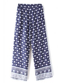 Elephant Print High Waist Wide Leg Pant